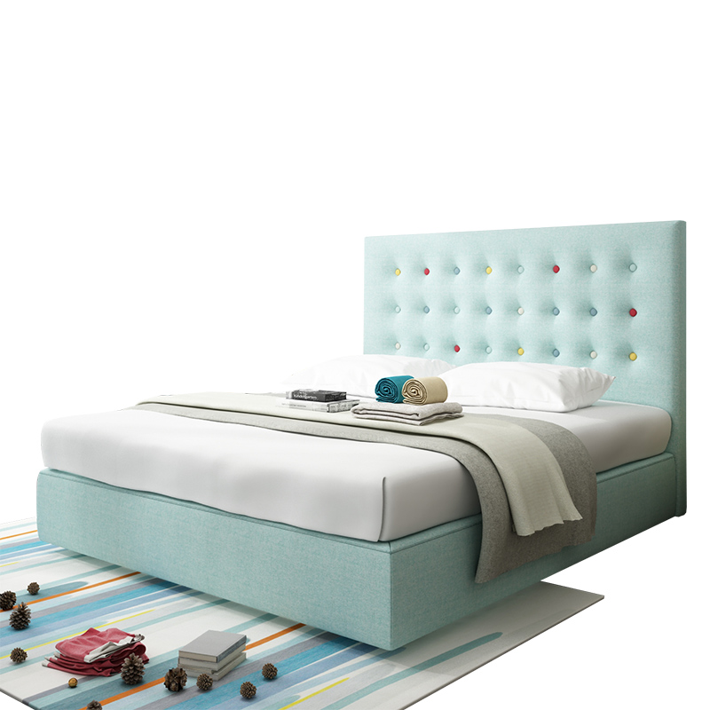 Nordic bed high back modern simple double bed, 1.8 meters master bedroom, small family, personalized wedding bed, solid wood cloth bed