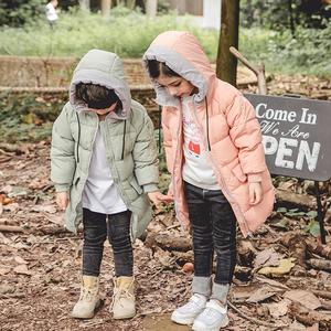 反季清仓儿童羽绒服男童女童中长款连帽外套宝宝加厚保暖90白鸭绒