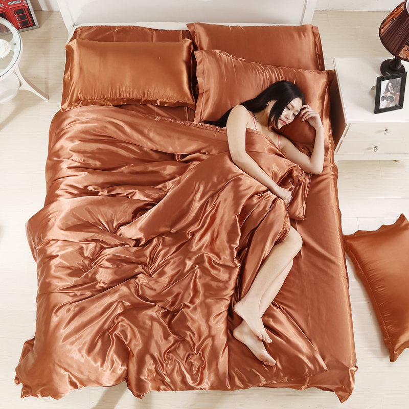 Summer Satin ice cover products pure sets, 1. colors four days, filar thread 4, four pieces of bedding, bed pieces four sets of tribute 8M sheets