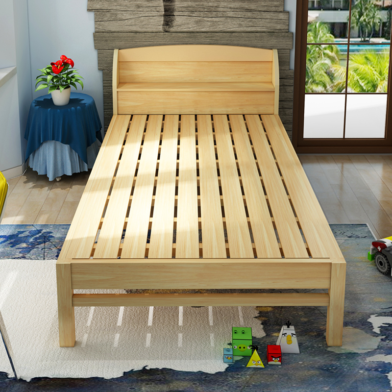 Mail solid bed double bed, 1.5 pine 1.8 meters bed, child bed 1 meters, single bed 1.2 meters simple storage bed