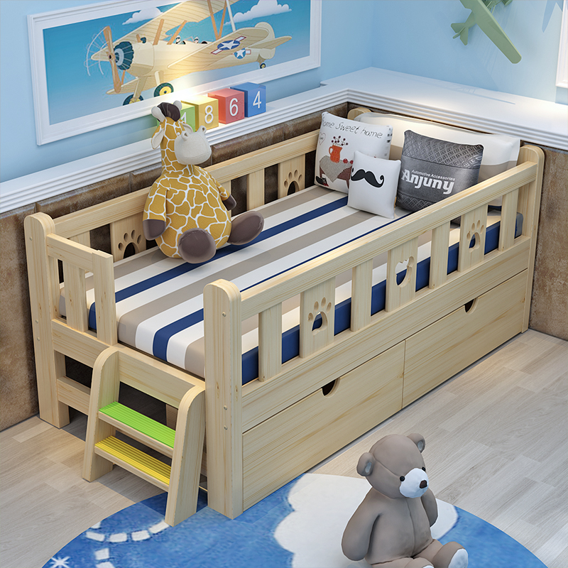 Household special mattress bed, stacked single bed, wooden small bed, children plastic belt guardrail double bed lunch bed