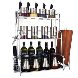 不锈钢调料架厨房置物架多层收纳储物调味料砧板刀架壁挂落地用具