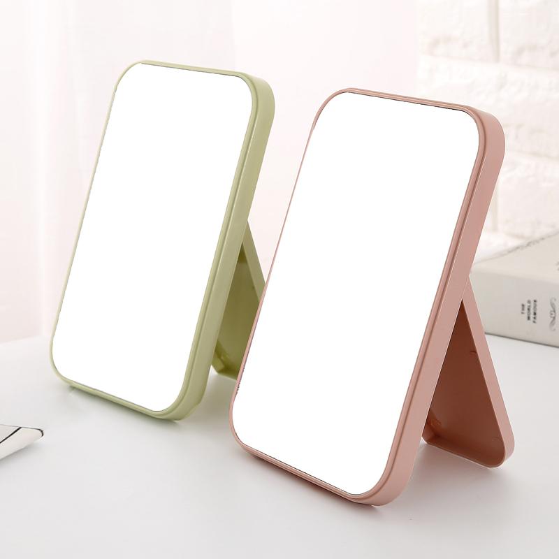 桌面长方形小镜子台式化妆镜随身镜梳妆镜简约折叠便携书桌公主镜