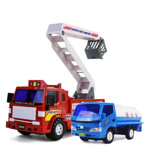 力利儿童玩具工程车惯性云梯消防车大号模型喷水洒水车玩具可洒水