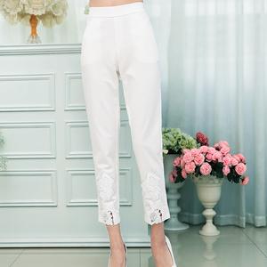 柯茜佳中年女裤九分裤直筒大码松紧高腰妈妈裤子女春夏季薄款白色