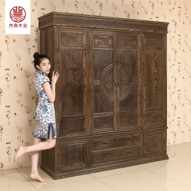Rosewood chicken wing wood double 1.8 meters big Chinese table top cabinet wood classical bedroom furniture combination