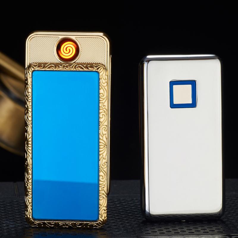 High grade USB charging lighter ultra thin anti wind fingerprint induction customized photo photo frame electronic smoke detector