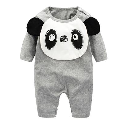 dudu熊猫婴儿连体衣男宝宝衣服新生儿长袖哈衣灰色纯棉爬爬服秋季