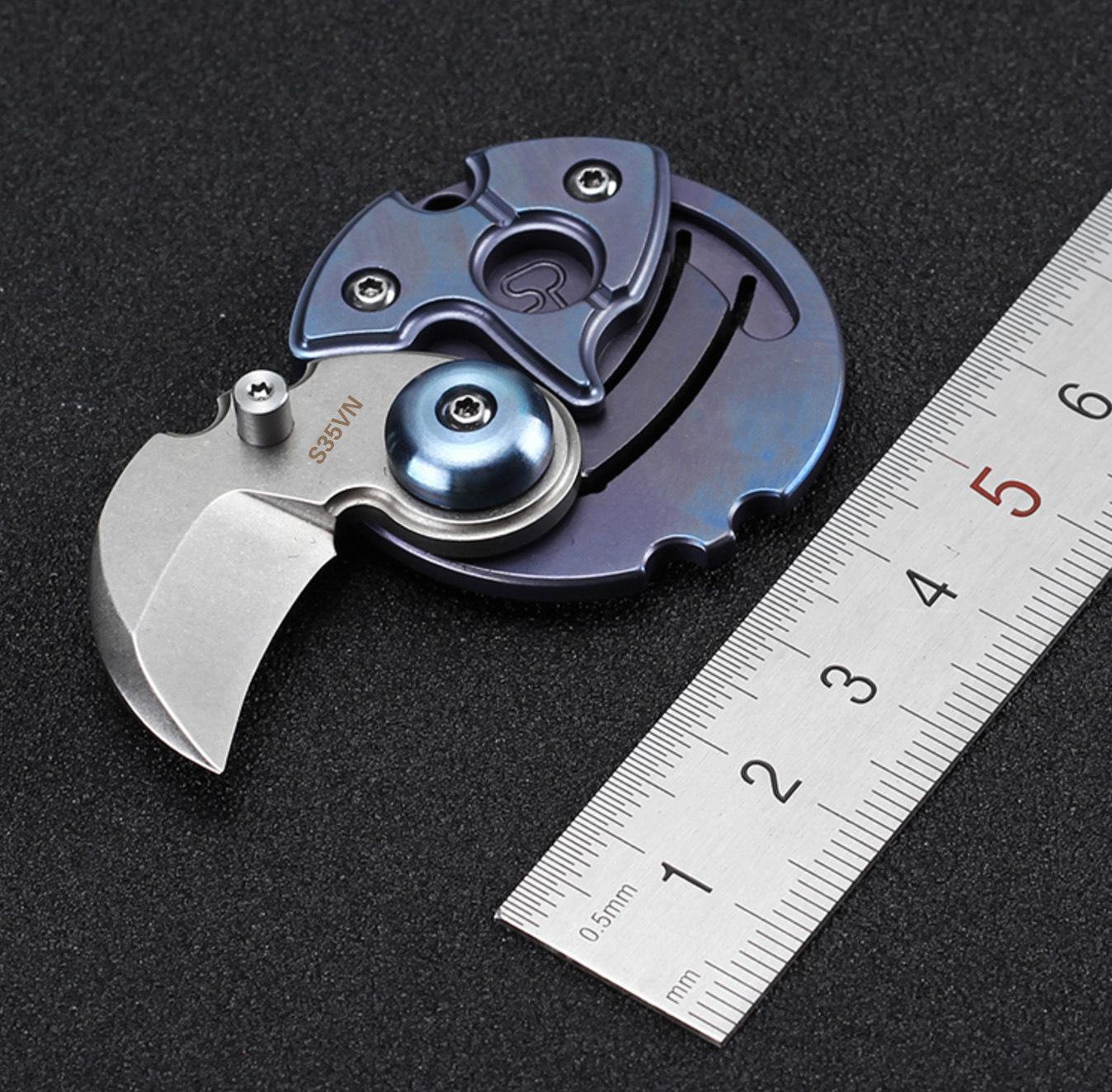 Outdoor multi-purpose titanium alloy folding self-defense knife S35VN mini coin knife key chain folding knife EDC tool