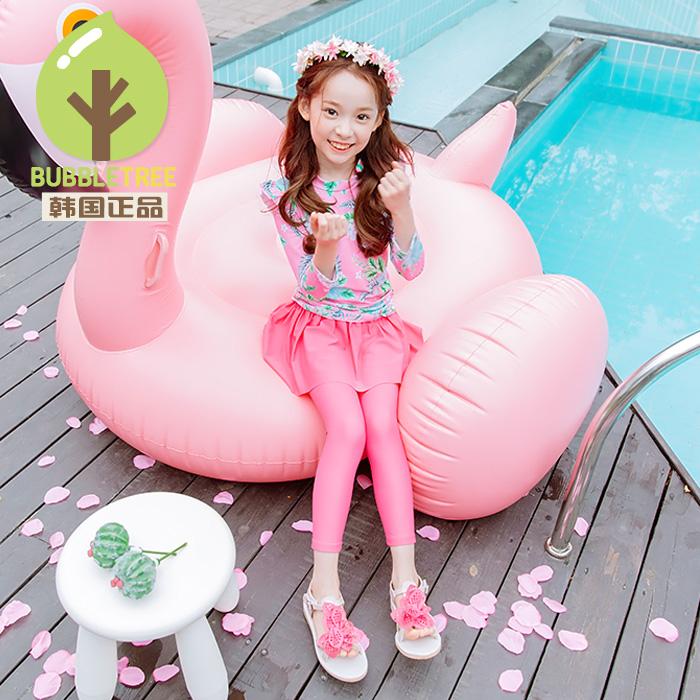 BUBBLETREE韩国女童裙式防晒长袖裤泳衣儿童韩版公主分体泳装E052