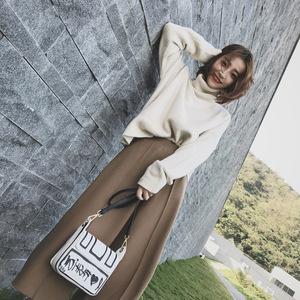 2018秋冬新款港味慵懒风气质显瘦阔腿裤套装宽松高领毛衣两件套女