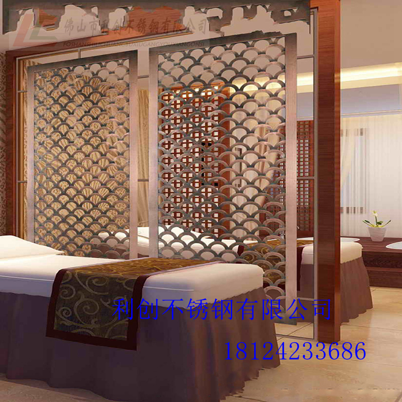 304 color stainless steel hollow partition grille color screen can be customized to the hotel lobby