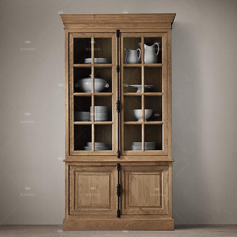 деревянный шкаф американский дуб Европейский стеклянную дверь кабинета мир края ретро еды четыре двери замок деревянный шкаф