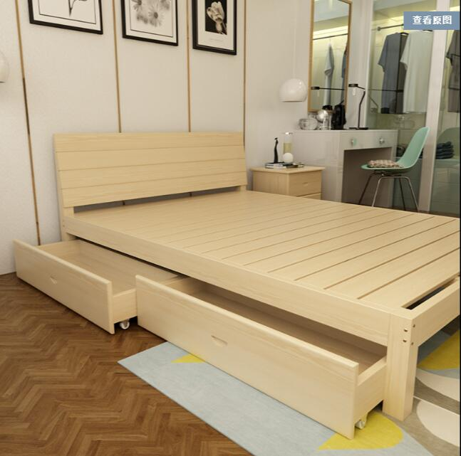 Simple solid wood pine bed sheets for children, 1.2 meters for bed, 1 meters for double beds, 1.5 meters for logs, simple for modern adults