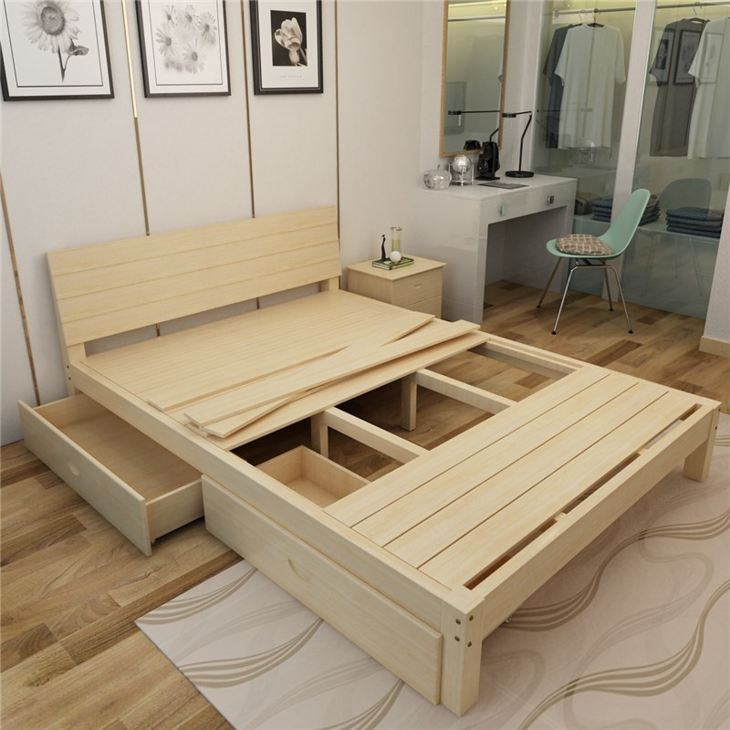Modern wood frame wood bed tatami 1.5 pine 1.8 bed single bed double adult 1.2