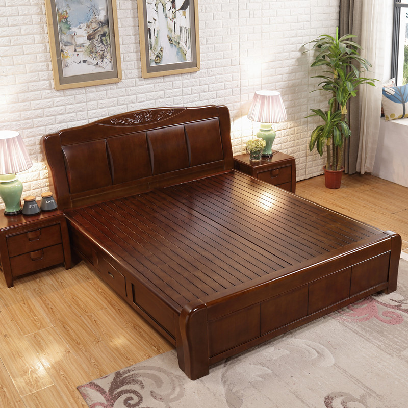 Solid wood bed double bed, 1.8 meters oak high box storage bed, 1.5 meter economy type big bed, master bedroom furniture wedding bed