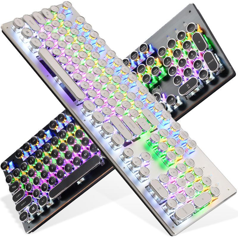 Beschwörer mechanische tastatur - desktop - computer - Spiel dabei Grüne achse Schwarzen schacht runden retro - steampunk
