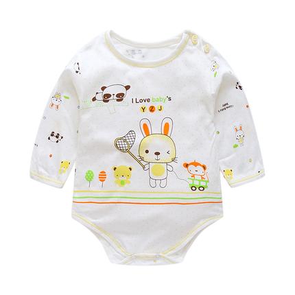 婴儿三角哈衣夏季薄款长袖连体衣宝宝竹纤维超薄睡衣爬爬服包屁衣