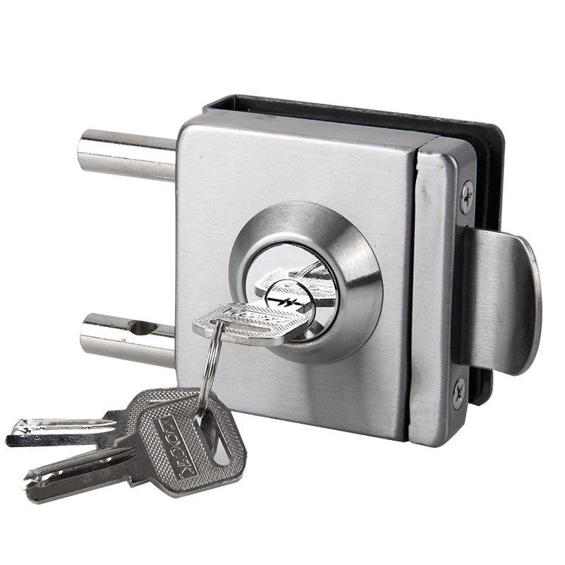 Open door door lock, burglarproof lock, single door lock, square toughened glass door lock, bolt lock
