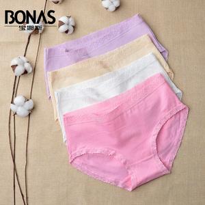 【天天特价】宝娜斯4条装女士内裤 纯色棉质中腰内裤女花边三角裤