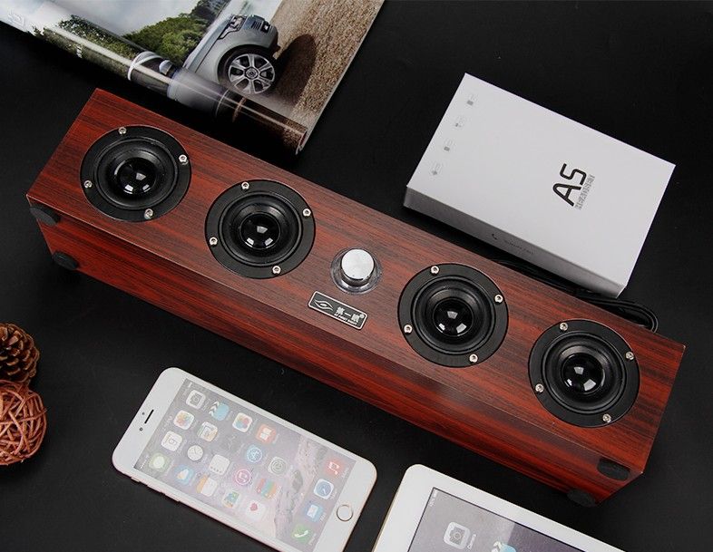 Sound box desk type office computer cell phone real wood cable small sound family bass gun