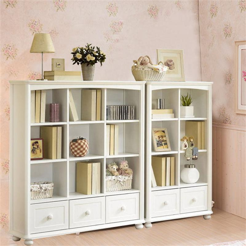 Pastoral Korean modern minimalist bookcase combination bookshelf bookcase ivory white plaid children locker cabinet
