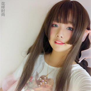 Received long straight hair wig female air bangs Japanese two dimensional jellyfish daily soft sister cos.