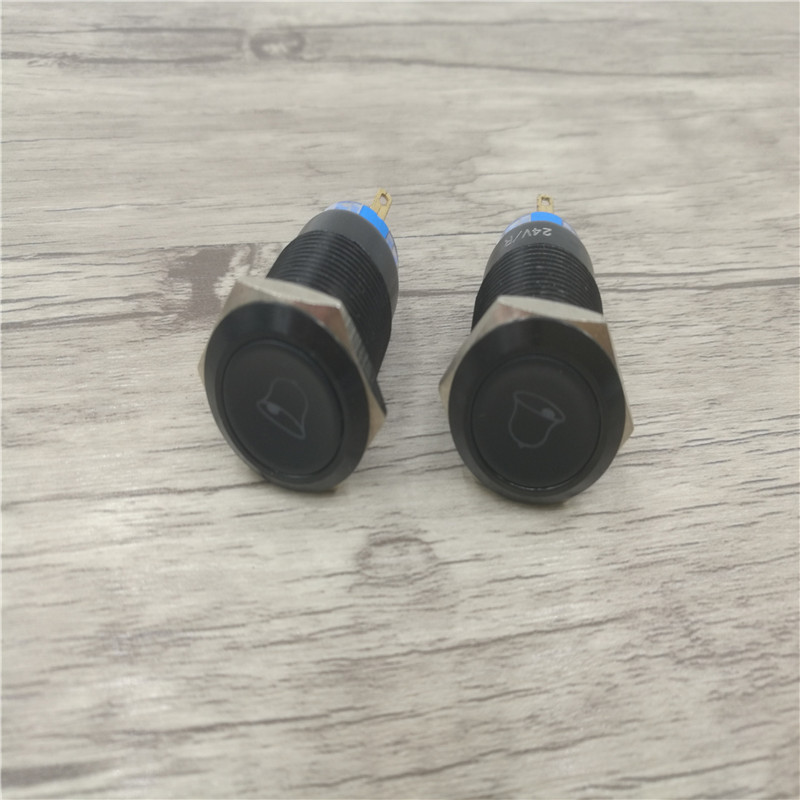 19MM metal button symbol with lamp waterproof reset self locking car modified power switch horn with lamp button
