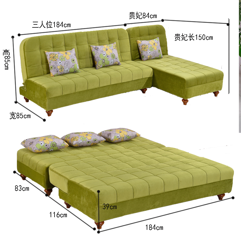 Το μικρό μέγεθος του απλού πολυλειτουργική πτυσσόμενο καναπέ κρεβάτι να μπορούν να πλένονται τρεις άνθρωποι βασιλικό γωνία συνδυασμένη 1,8 m