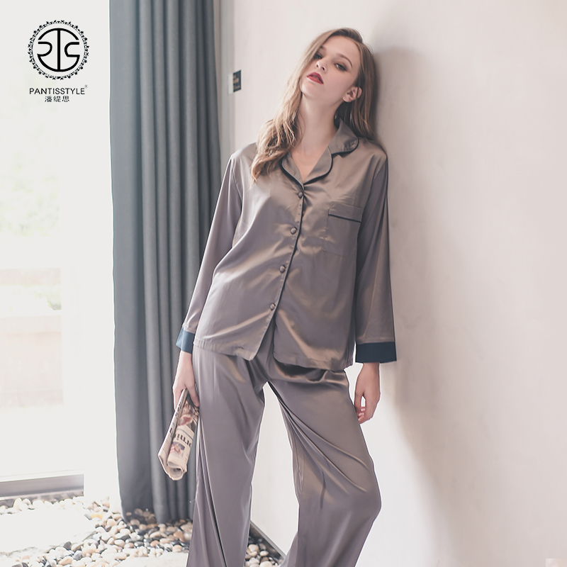 The spring and autumn Home Furnishing female sexy pajamas suit silk satin pants long sleeved casual coat collar V four piece