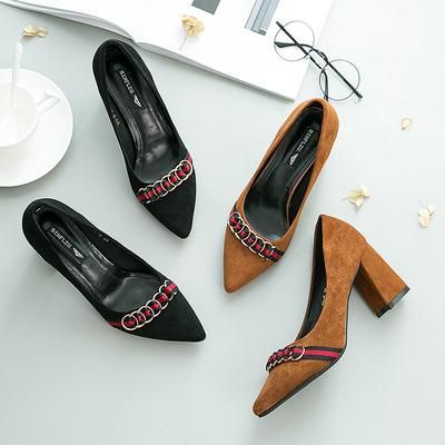 2017新款女鞋高跟鞋女粗跟尖头百搭韩版浅口黑色职业舒适单鞋女