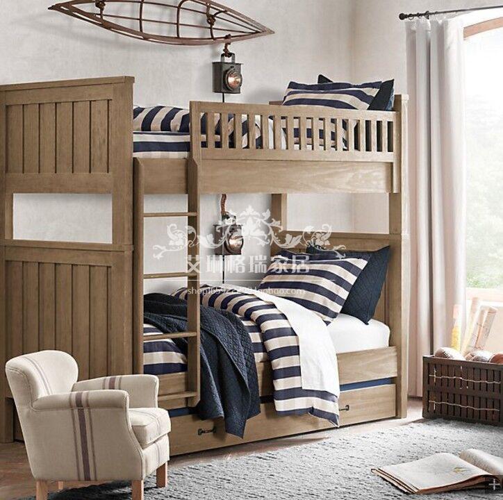 La altura de la cama de madera de estilo retro en francés antiguo nivel de personalización de barandilla de la cama y cama doble de niños