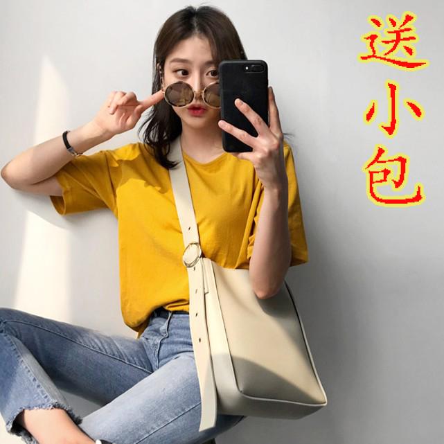 韩国2017新款简约纯色休闲单肩斜挎包ins小气质圆扣子母水桶包女