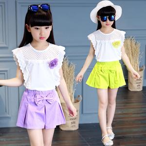 2018夏季新款童装女女童套装中大童短袖短裤休闲两件套儿童3-16岁