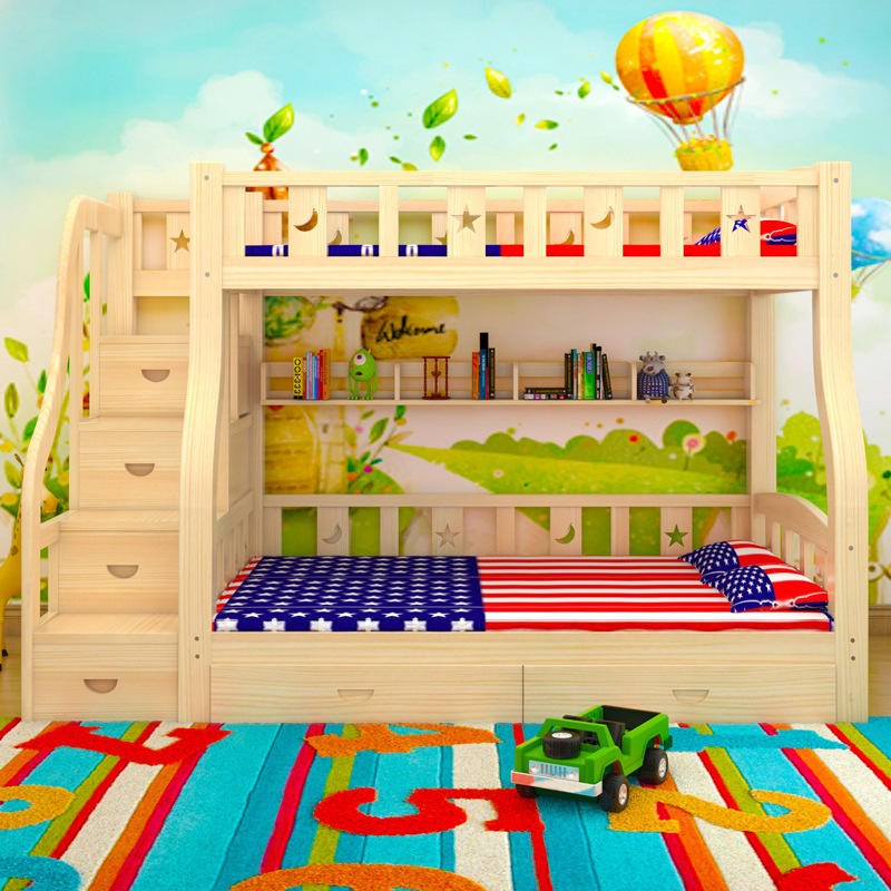The children get out of bed, bunk bed double bed student pine wood bunk bed dorm bed adult bed cluster