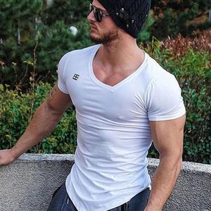 肌肉兄弟健身服短袖男夏运动紧身衣速干v领男t恤弹力跑步训练上衣