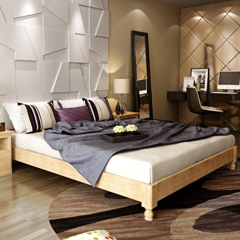 The whole wood bed tatami short bed simple bed frame 1.5 meters 1.8 double bed bed no Japanese custom