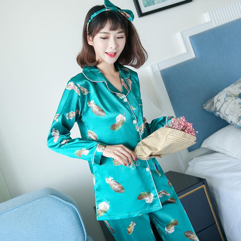 Silk pajamas female autumn wear long sleeved cardigan sexy lady silk clothing Home Furnishing four sets.