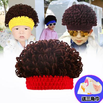 儿童针织帽春秋胎帽0-3-6-12个月新生婴儿帽子男女宝宝假发帽冬潮