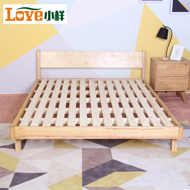 Nordic style modern minimalist 1.5 meters single bed, Japanese master bedroom furniture, log 1.8 meters double bed solid wood bed