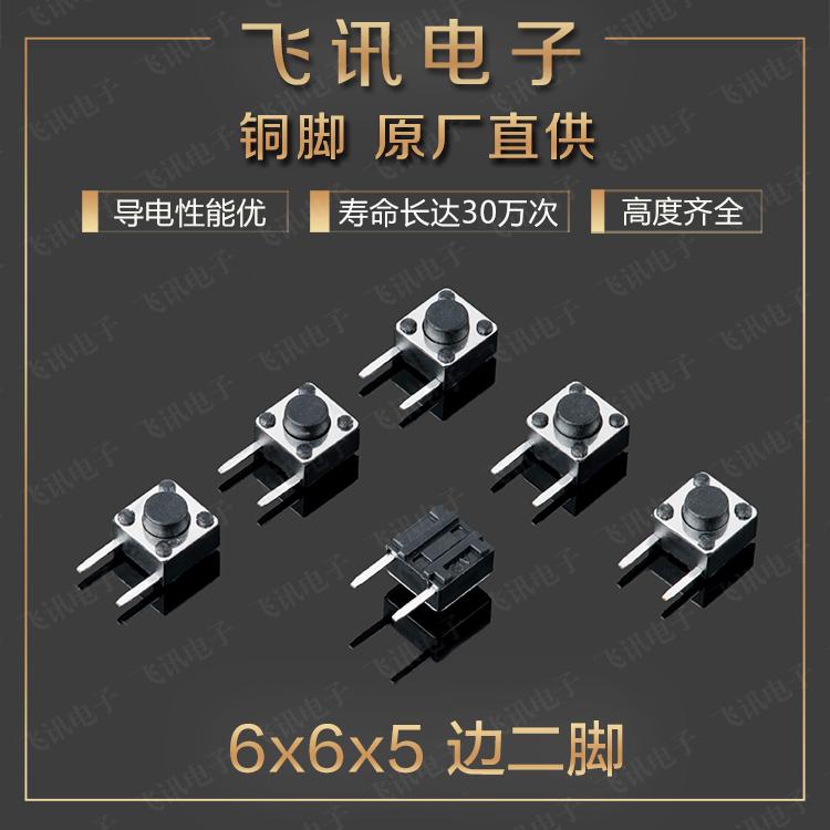팁 스위치 발 6*6*5MM 변 두 발 참여 측각 미소동 스위치 구리 발 / 키 작은 스위치