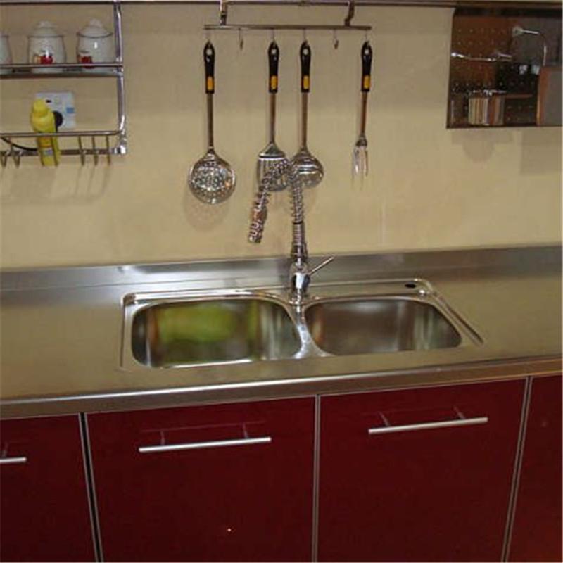 Shanghai overall household kitchen cabinets custom 304 stainless steel kitchen cabinet door sink stainless steel table