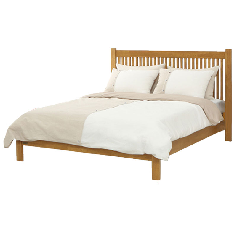 Nordic simple Japanese style solid wood bed, 1.5 meters double bed, environmental protection marriage bed, high and low bed, modern simple bedroom furniture