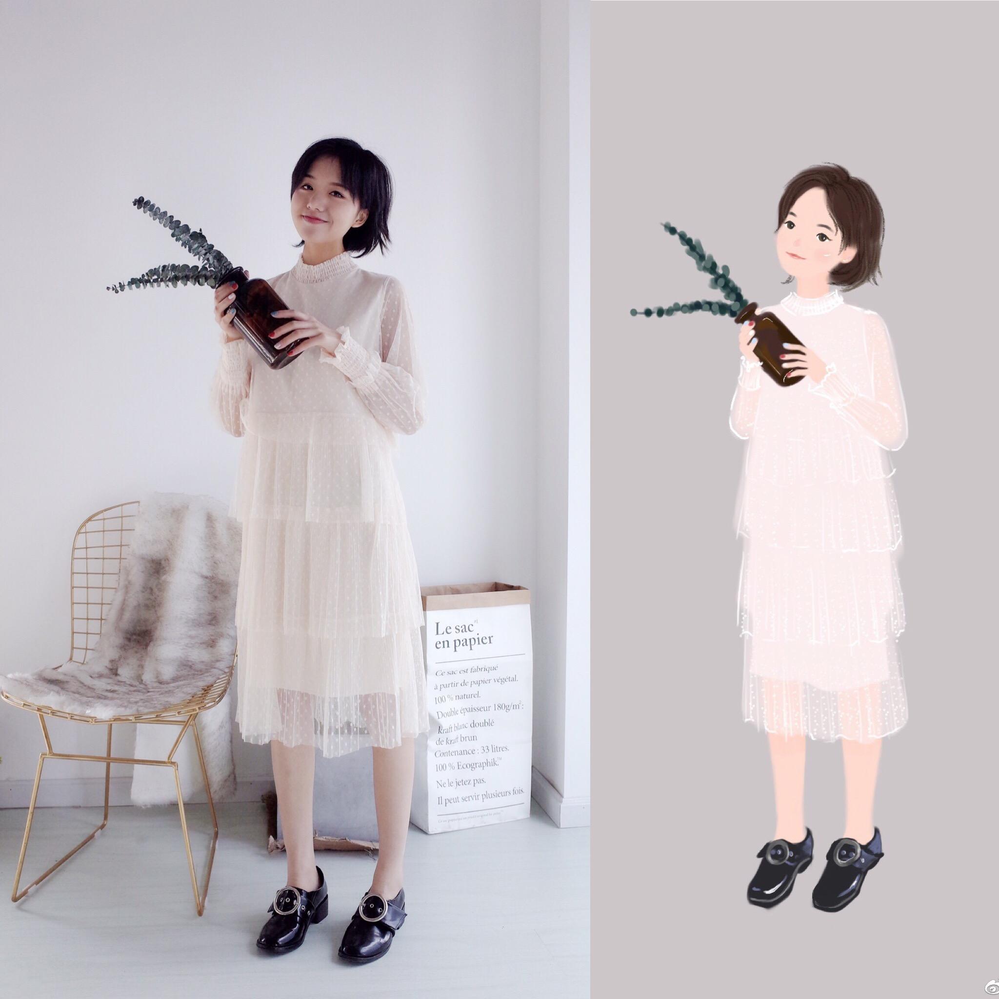 纱裙。穿上就是小仙女~ 小立领透视袖子波点连衣裙蛋糕裙蕾丝