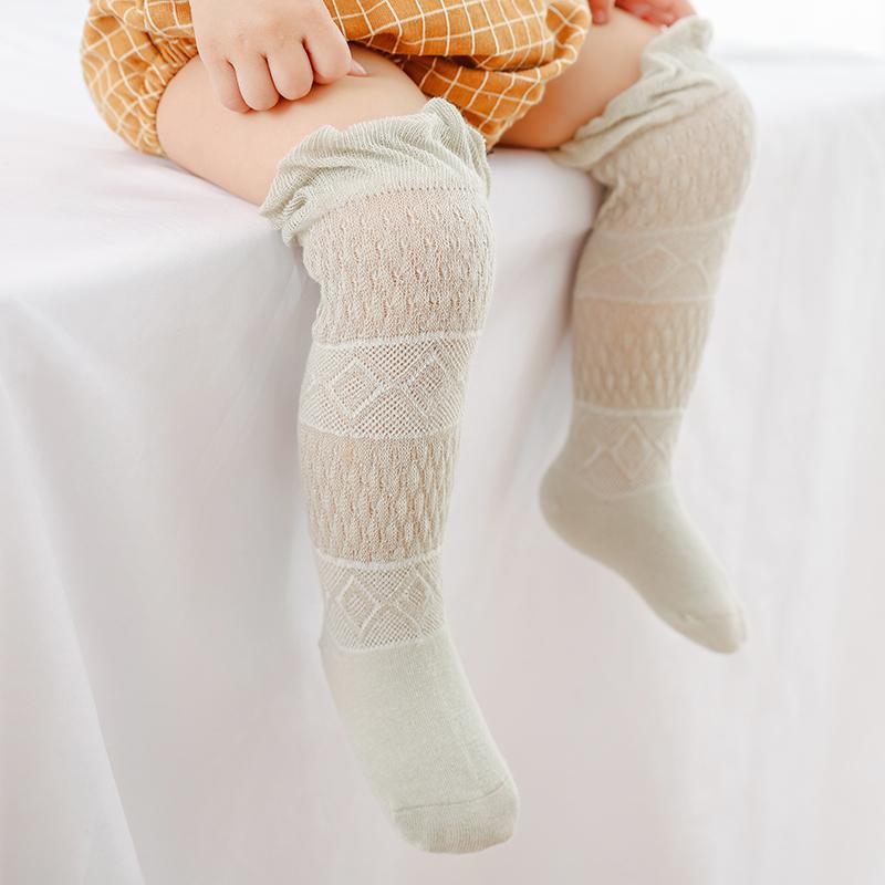 3双装防蚊袜男儿童纯棉薄款袜子中筒过膝袜子婴儿网眼镂空护膝袜