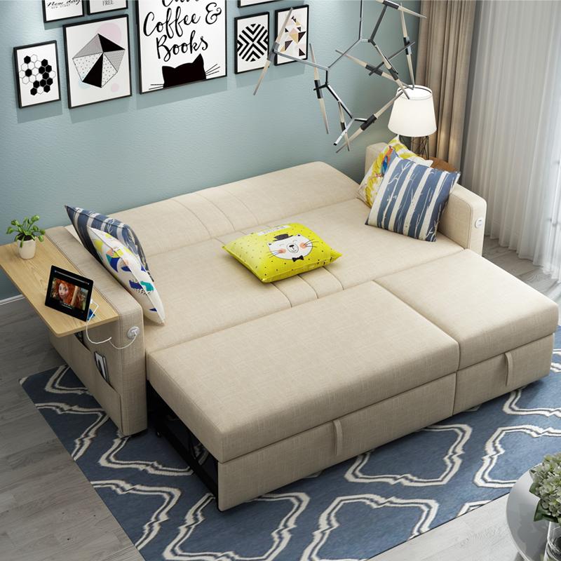 Νέο καναπέ κρεβάτι πτυσσόμενο καναπέ στο σαλόνι διπλό συνοπτική μικρό διαμέρισμα πολυλειτουργική 1,2 μέτρα ύφασμα λατέξ 1,5