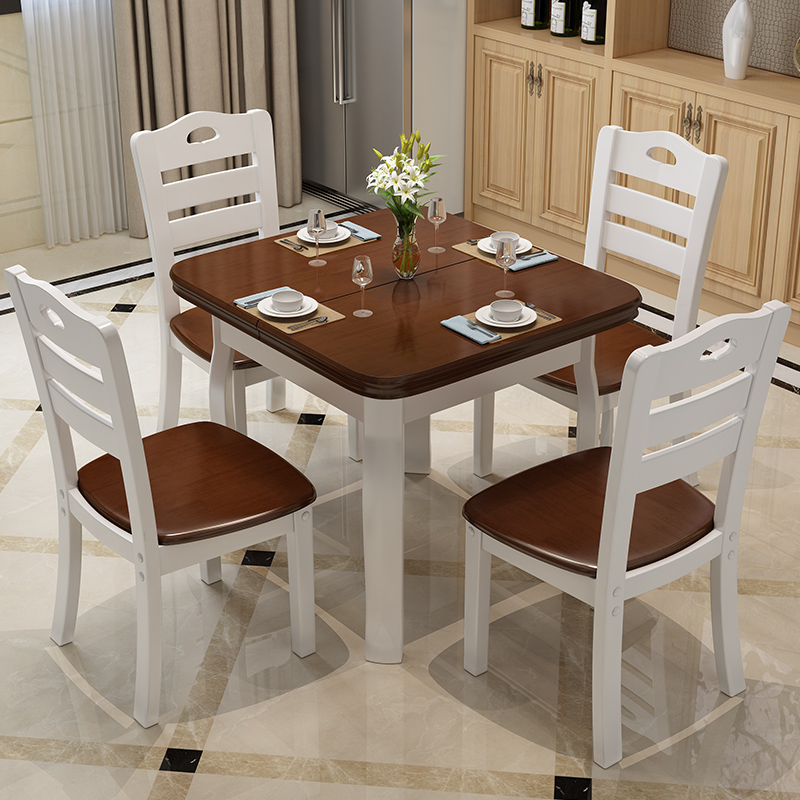 6 people 4 people dining combined large-sized apartment wood folding telescopic table table table rectangular West oak