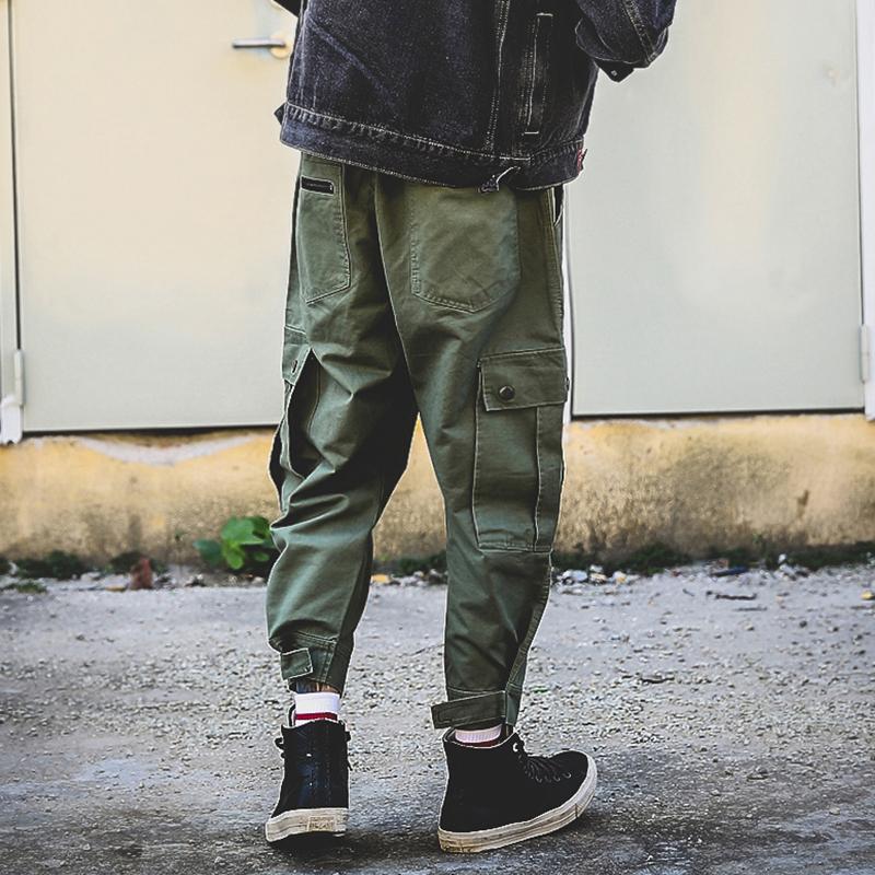 工装裤男潮牌余文乐加厚小脚裤男哈伦裤 秋冬男士潮流宽松休闲裤