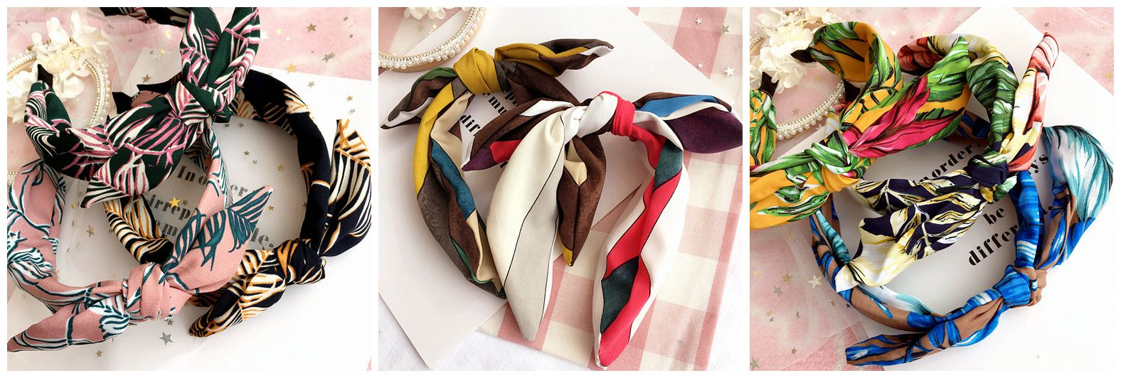 Recommend several materials imported fabric color rabbit ears holiday crazy head hoop hoop