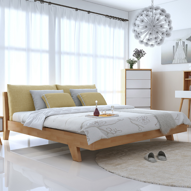Pure solid wooden double 1.5m1.8 m Japanese Nordic soft on modern minimalist furniture master bedroom bed